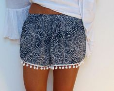 Cute Patterned Pom Pom Shorts Loose Fit Navy Print by ljcdesignss