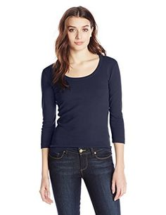 Three Dots Womens 34 Sleeve Scoop Neck Tee *** You can find more details