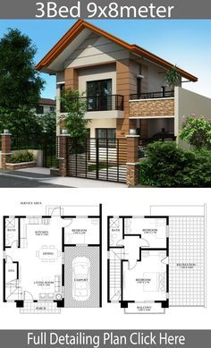 Home design plan with 3 bedrooms - Home Ideas - Home design plan with 3 bedrooms – Home Design with Plansearch - Two Story House Design, 2 Storey House Design, Duplex House Design, Simple House Design, Modern House Design, Model House Plan, My House Plans, House Layout Plans, House Layouts