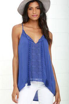 Sweet Soul Blue Lace Tank Top at Lulus.com!