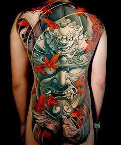 Japanese back tattoos by Swipe to the side to see both tattoos!