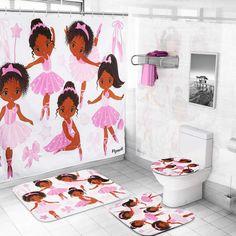 Kids Shower Curtain Set,Pink Girl Ballet Shower Curtain Including 12-Pack Shower Hooks and Bathroom Toilet Mat Set , Bath Rug Set for Bathroom Non Slip Bath Mat /Toilet Contour Mat / Toilet Lid Cover