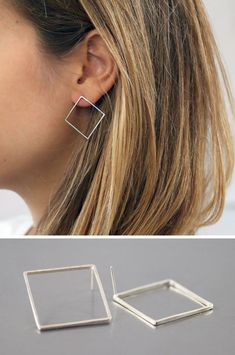 These square earrings take the basic geometric shape of the square and turn it into a stylish and classic piece of jewelry. #minimalistJewelry
