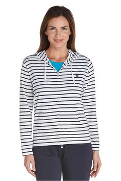 9068578acf Womens Seaside Hoodie UPF 50+  Sun Protective Clothing - Coolibar Boating  Outfit