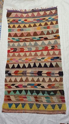 Moroccan Rug -  - Kilim boucherouite - Flat weave - Moroccan Carpet - Moroccan Decor - Geometric Rug - # G184
