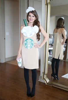 DIY Starbucks Frappuccino Costume - Beige slip, green painted paper towel roll for straw, white felt for whip cream, Starbucks logo
