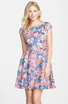 Betsey Johnson Lasercut Floral Print Scuba Fit & Flare Dress