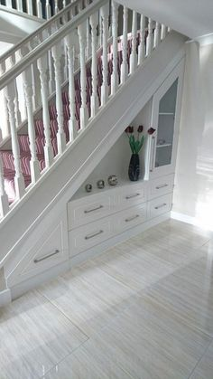 55 Genius Under Stairs Storage Ideas For Minimalist Home. Many of us live in houses that have an open area underneath the stairs. Staircase Storage, Staircase Design, Under Stair Storage, Open Staircase, Under Staircase Ideas, House Stairs Design, Under Stairs Pantry Ideas, Foyer Storage, Stair Design
