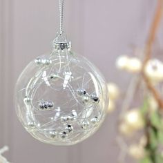 glass silver bead and swirl bauble by lisa angel homeware and gifts | notonthehighstreet.com
