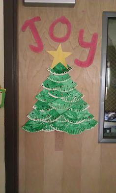 door decoration with paper plate tree