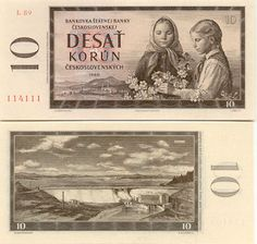 Czechoslovakian banknote from Girls picking flowers and view of Orava Dam - Stock Image Retro 1, Retro Vintage, Czech Republic, Bratislava, Childhood Memories, Pictures, European Countries, Prague, Product Design