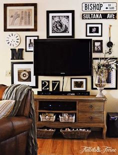 My Gallery Wall Reveal {from Drab to Fab!}-I like the idea of hanging photos around the TV and using some graphic numbers and signs mixed in... would like to do a combo of grey frames and pewter metals