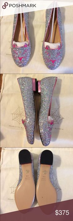 NWT Charlotte Olympia glitter flats in size 38.5 Festive glitter in pink  and silver dazzles on