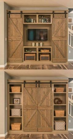 Barn door bookcase/entertainment center