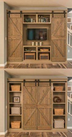 Barn door bookcase/entertainment center