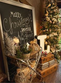 Love this Christmas decor! In absolute love with the cart w/ baskets!!