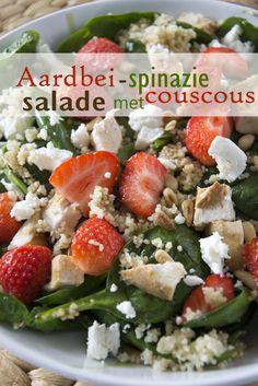 Aardbei-spinazie salade sl Vegetarian Recepies, Salad Recipes, Healthy Recipes, Good Food, Yummy Food, Convenience Food, Eating Habits, Food Videos, Paleo
