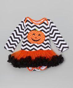 Look what I found on #zulily! Black & White Pumpkin Tutu Bodysuit - Infant #zulilyfinds