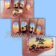 Happy Easter! Easter nail art, resurrection nails, Easter nails, sensationail gel