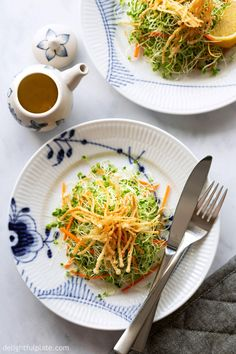 This Microgreens Salad is packed with flavors, textures and nutrients. The crispy fried enoki mushrooms toppings and bright lemon vinaigrette make it such a fun dish to eat. This quick and easy salad recipe is vegan, dairy-free and gluten-free. Easy Salad Recipes, Easy Salads, Side Dish Recipes, Asian Recipes, New Recipes, Ethnic Recipes, Potluck Recipes, Vegetable Recipes, Vegetarian Recipes