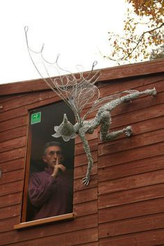 wire sculptor, Robin Wight with one of his wire fairiesWire Sculpture by FantasywireThe guy scares me.Fae Folk World. Do you have a favorite Fae Folk® fairy?Talking to the fairies - may be an idea for younger children - extension of a theme in their Robin Wight, Craft Font, Fantasy Wire, Sculpture Art, Wire Sculptures, Abstract Sculpture, Bronze Sculpture, Fairy Art, Land Art