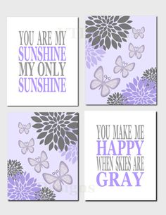 Nursery Art, Baby Nursery, Baby Girl, Kids Wall Art, Lavender, Purple, Gray You Are My Sunshine, Butterflies, Flowers, Set of 4, Prints by vtdesigns on Etsy