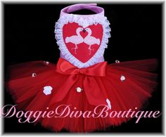 Dog Tutu Dress Kissing Flamingos Heart by DoggieDivaBoutique, $50.00