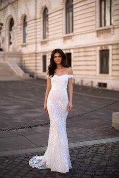 Dalia - White Floral Embellished Off-Shoulder Mermaid Gown Nude Prom Dresses, Evening Dresses, Formal Dresses, Wedding Dresses, Formal Prom, Gold Sequin Gown, Black Lace Gown, Gown With Slit, Off Shoulder Gown