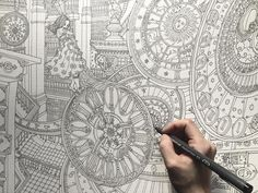 (Tmeless Chaos) Daria Song's The Night Voyage -- The Time Chamber - Clock Tower Adult Coloring Pages, Coloring Books, Book Illustration, Steampunk, Mandala, Songs, Writing, Instagram Posts, Vintage Coloring Books