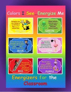 """Classroom Energizers- """"Colors I See... Energize Me"""""""