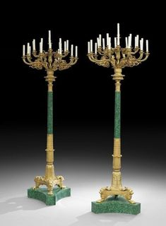 A PALATIAL PAIR OF DORE BRONZE & MALACHITE TORCHIERS Antique Auctions, Empire Style, Concave, One Light, Malachite, Candelabra, View Image, Bronze, Pairs