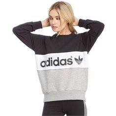 adidas Originals Authentic Crew Sweatshirt ($63) ❤ liked on Polyvore featuring tops, hoodies, sweatshirts, white crewneck sweatshirt, white crew neck sweatshirt, white sweatshirt, color block sweatshirt and colorblock top