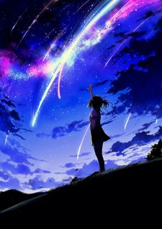grafika anime, kimi no na wa, and night Anime Sky, Anime Galaxy, Anime Love, Anime Yugioh, Anime Pokemon, Kawaii Anime, Manga Art, Manga Anime, Anime Quotes Tumblr
