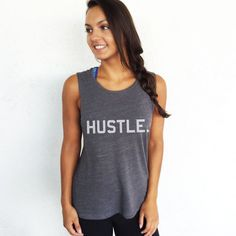 HUSTLE+Muscle+Tee+in+Asphalt+/White+Workout+Top+by+everfitte