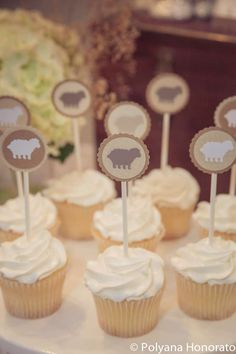 Love the cupcake toppers at this Blessed Litte Lamb Baptism! See more party ideas at CatchMyParty.com