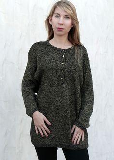 Oversizowy Długi Złoty Sweter. Sweter grunge.