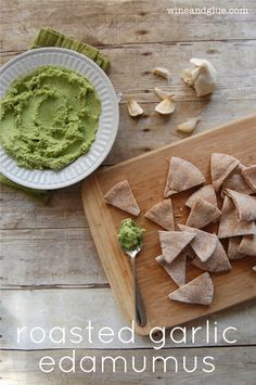 Roasted Garlic Edamumus {Edamame Hummus} | www.wineandglue.com | A delicious twist on an old stand by!