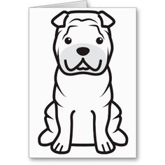 Chinese Shar-Pei Dog Cartoon Greeting Cards