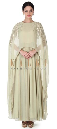 Buy this Light olive green suit with attached cape only on Kalki