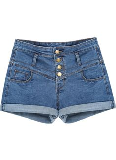 f26959c8b4 Blue Pockets Flange Denim Shorts - Sheinside.com Couture Outfits