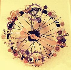 Steampunk Bicycle Wheel Clock; Just Jenn Home Arts