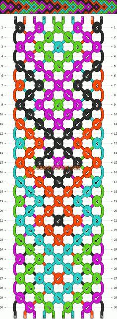 Normal Friendship Bracelet Pattern #2048 - BraceletBook.com
