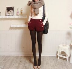 big scarf + cranberry shorts.