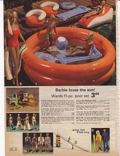 Ward's Exclusive Barbie Inflatable Pool Set, Barbie's Beach Bus and Olympic Ski Village from the Montgomery Ward Christmas Catalog, 1975