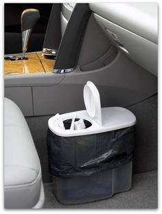 plastic cereal dispenser for trash in car - SO SMART!!