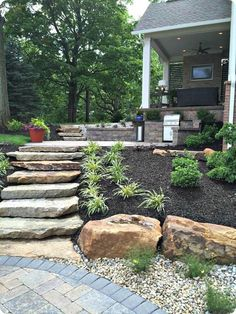 Large backyard landscaping ideas are quite many. However, for you to achieve the best landscaping for a large backyard you need to have a good design. Landscaping On A Hill, Large Backyard Landscaping, Cheap Landscaping Ideas, Landscaping With Rocks, Backyard Patio, Backyard Ideas, Landscaping Software, Backyard Decorations, Stone Landscaping