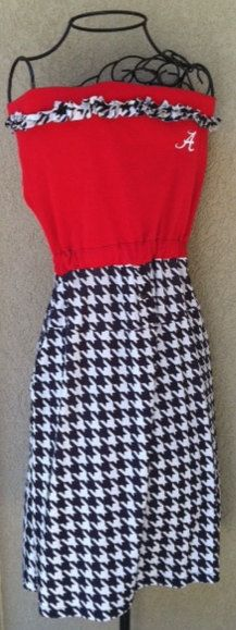 Upcycled Alabama houndstooth gameday dress by LincolnsGranny, $39.95