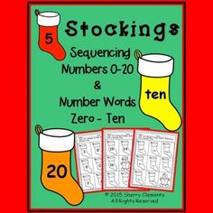 Stockings - Numbers (0-20) and Number Words (zero-ten) Sequencing (Christmas)