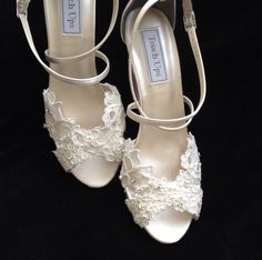 Alencon Lace inch Wedge Heel Wedding Shoes by YvesBellaBrides Wedding Wedges, Wedge Wedding Shoes, Lace Wedges, Nike Shoes Cheap, Cheap Nike, Pearl And Lace, Nike Air Max For Women, Women Nike, Bride Shoes
