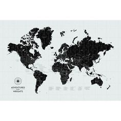 Black and white print with a world map.   interior   Pinterest ...